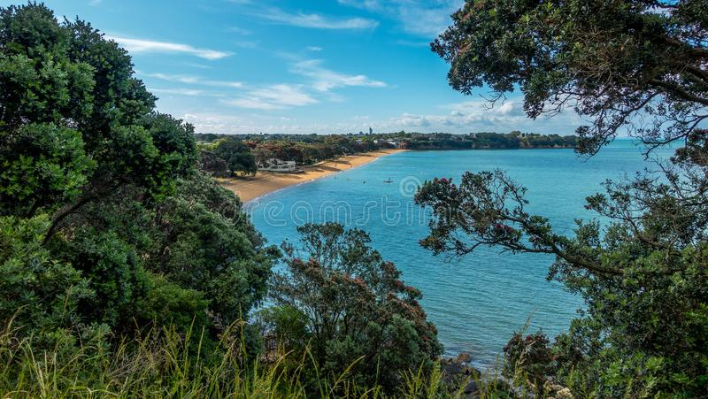 德文港海滩,奥克兰,新西兰看法  免版税库存图片
