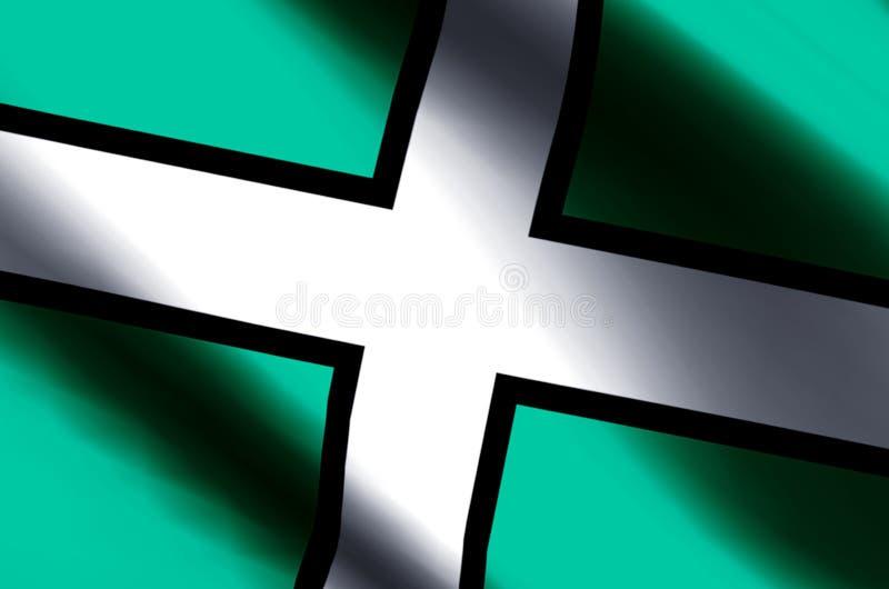 德文郡五颜六色的挥动和特写镜头旗子例证 皇族释放例证