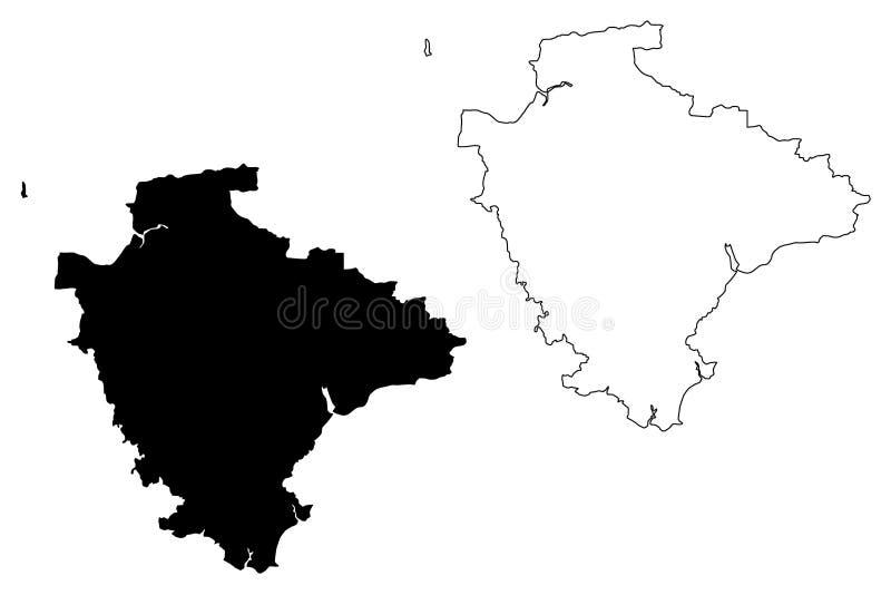 德文郡地图传染媒介 向量例证