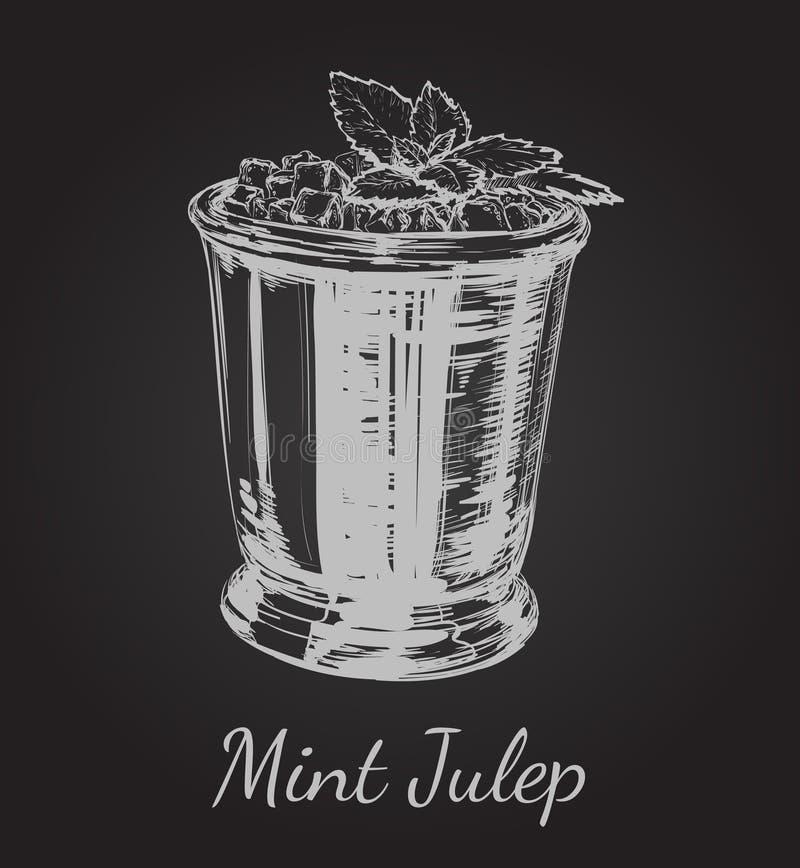 德比手图画传染媒介例证的鸡尾酒薄荷朱利酒 向量例证
