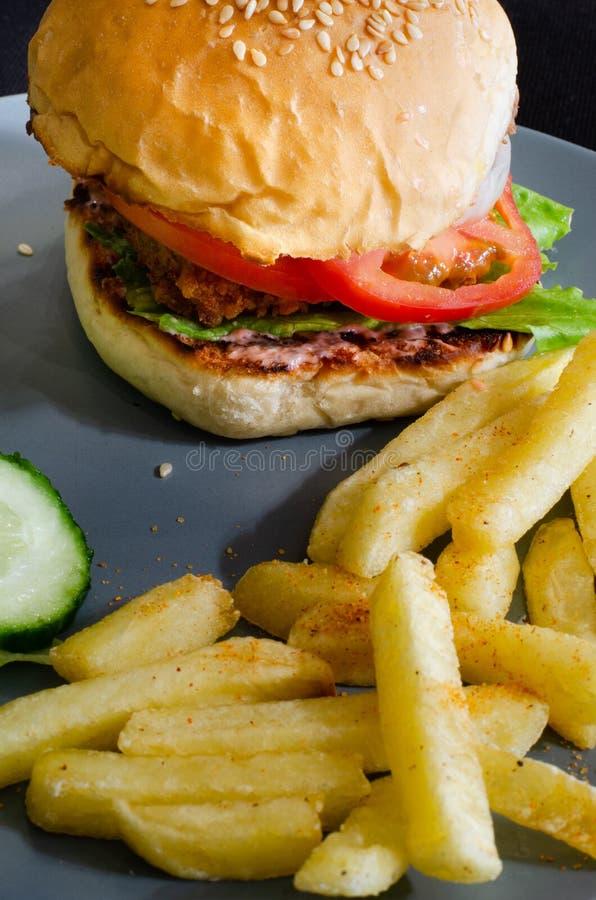 德班盘:辣鸡汉堡和芯片 库存图片
