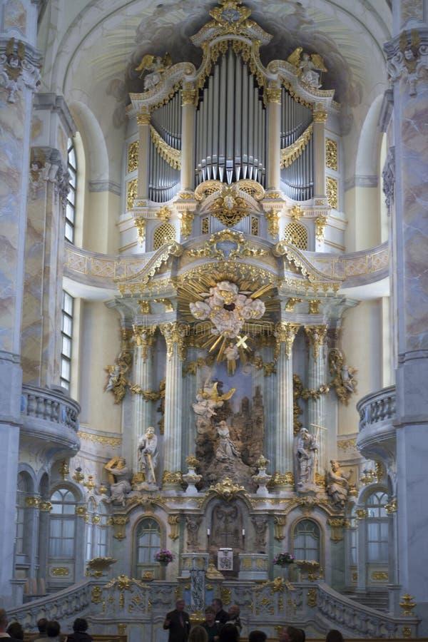 德累斯顿,萨克森,德国 Frauenkirche内部 免版税库存图片