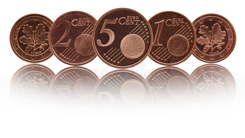 德语五,两,一欧分德国硬币 免版税图库摄影