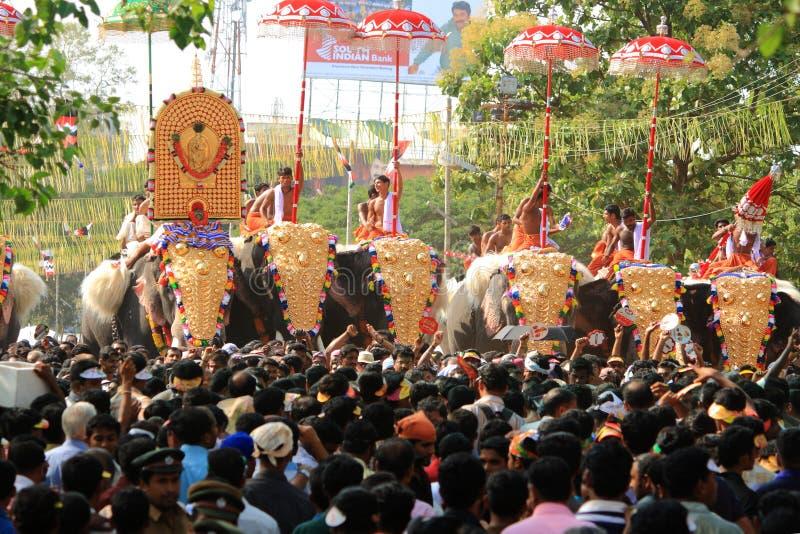 德里久尔Pooram节日 库存图片