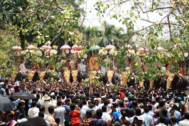 德里久尔Pooram节日 免版税库存图片