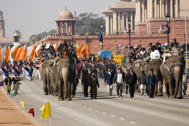 德里大象游行 免版税图库摄影