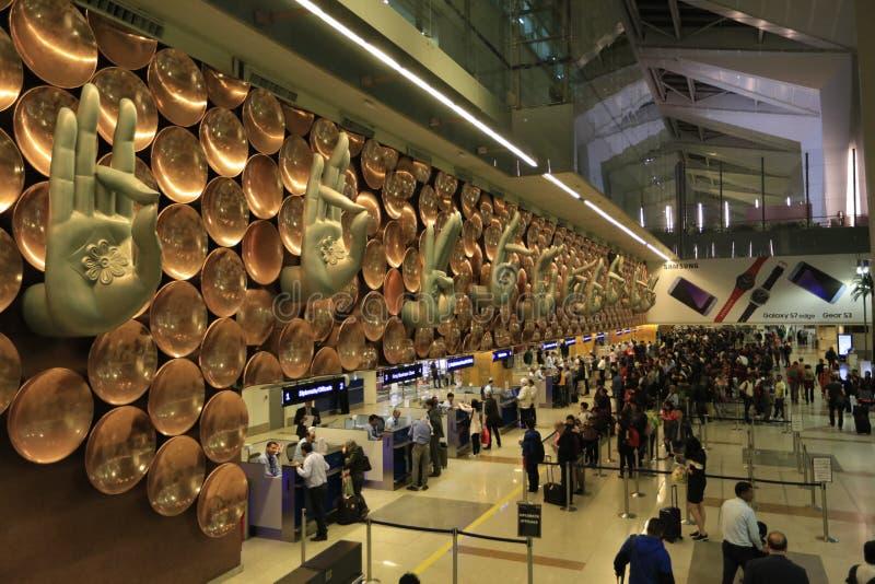 德里窗口-英迪拉・甘地国际机场 库存照片