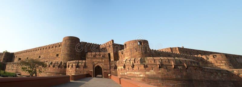 德里红堡在阿格拉,印度全景,旅行向亚洲 免版税库存图片