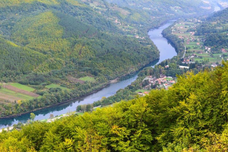 德里纳河河,塔拉国家公园,塞尔维亚峡谷  免版税库存图片