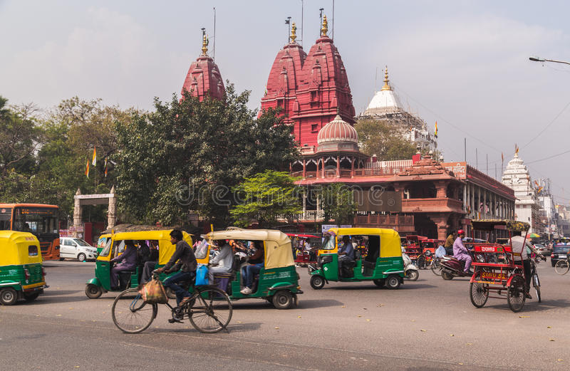 德里,印度街道  免版税库存照片
