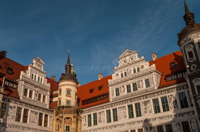 德累斯顿城堡(Schloss)和钟楼,德国 免版税库存照片