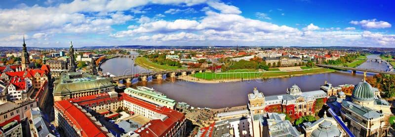 德累斯顿,德国。全景 库存图片