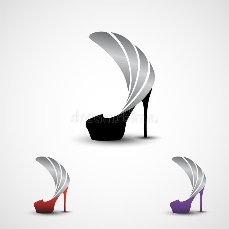 徽标设计模板 高跟银翼现代女装鞋 黑色、红色和紫色变体 皇族释放例证