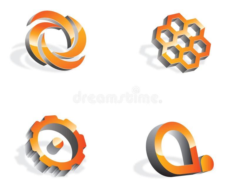 徽标logos3d 向量例证