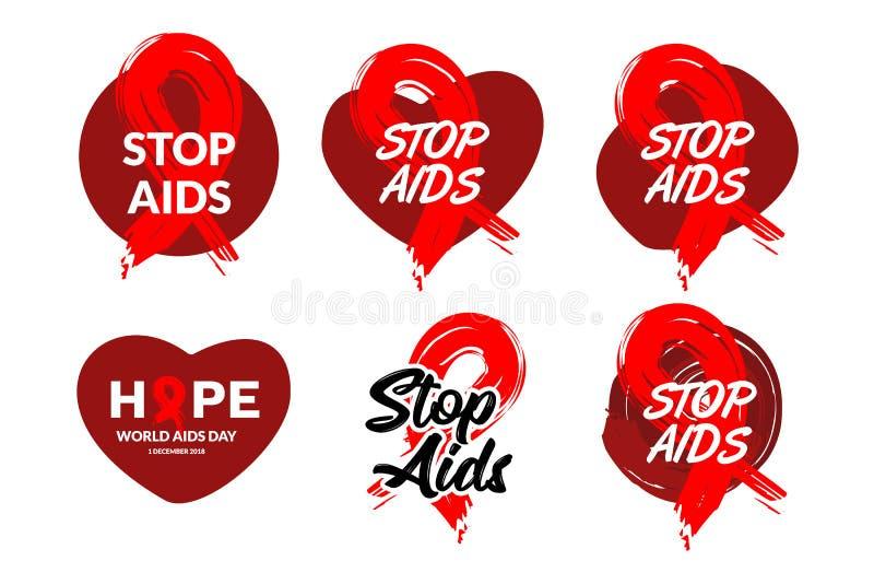 徽章与手拉的红色丝带设计传染媒介例证的世界艾滋病日 援助了悟广告的象设计,海报,横幅, 库存例证