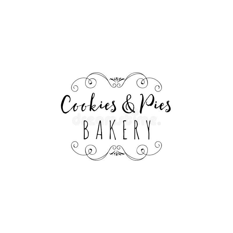 徽章为小企业-甜面包店设置了 用手书面的样式印刷板手工制造工作字体 它可以是 库存例证