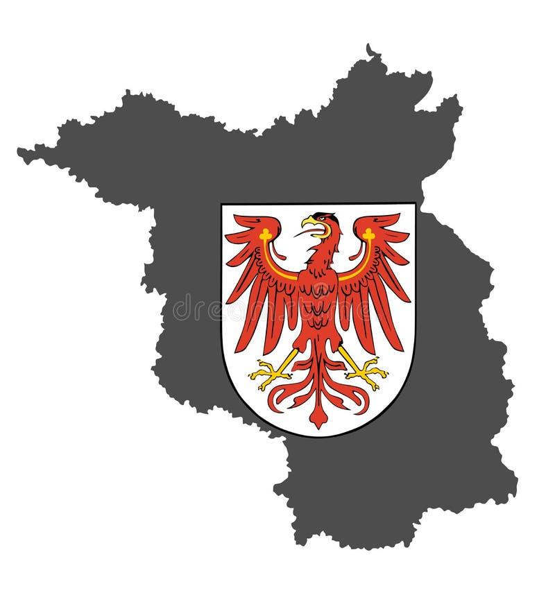 徽章勃兰登堡的 高详细的地图剪影勃兰登堡, 皇族释放例证