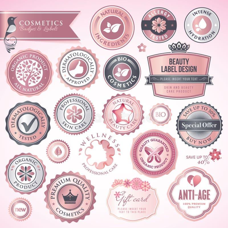 徽章化妆用品标签 皇族释放例证