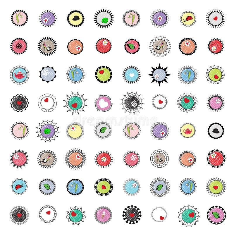46徽章和商标占位符按框架、项目和颜色在可移动里面,完全编辑可能 向量例证