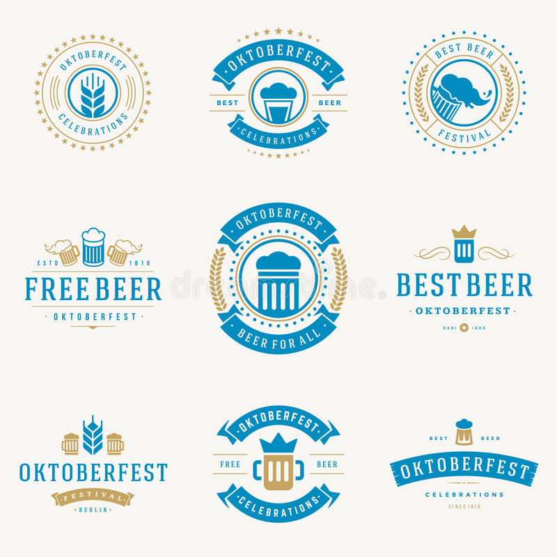 徽章和商标设置了啤酒节日慕尼黑啤酒节 皇族释放例证