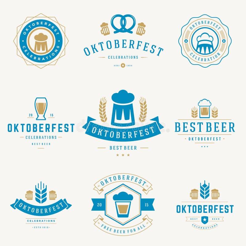 徽章和商标设置了啤酒节日慕尼黑啤酒节 库存例证
