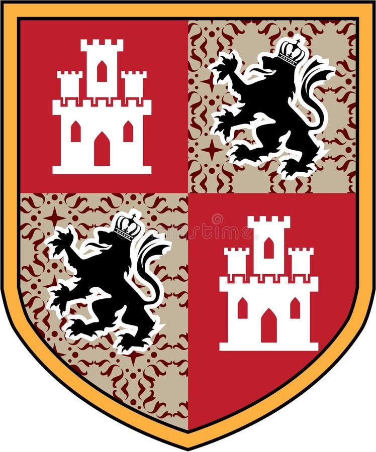 徽章城堡狮子传染媒介盾 向量例证