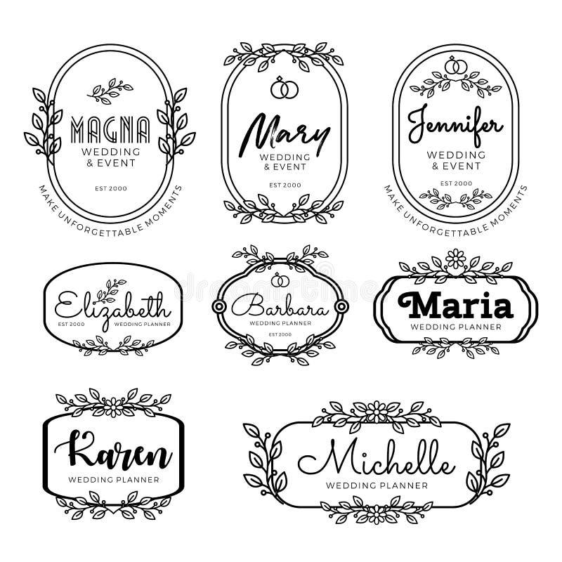 徽章婚姻的计划者的商标模板的线艺术样式 皇族释放例证