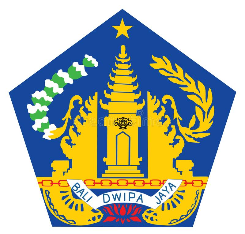 徽章巴厘岛,印度尼西亚的 封印、巴厘岛的国家标志或象征 向量例证