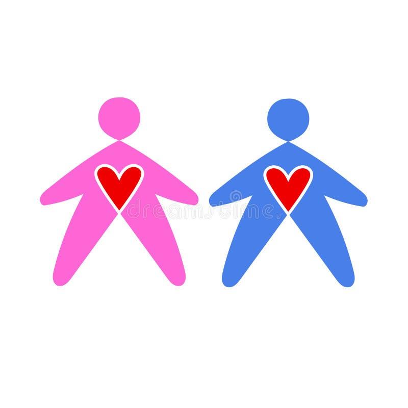 徽章男人和妇女蓝色和桃红色的 男人和妇女象 公开休息室标志 ?? 库存例证