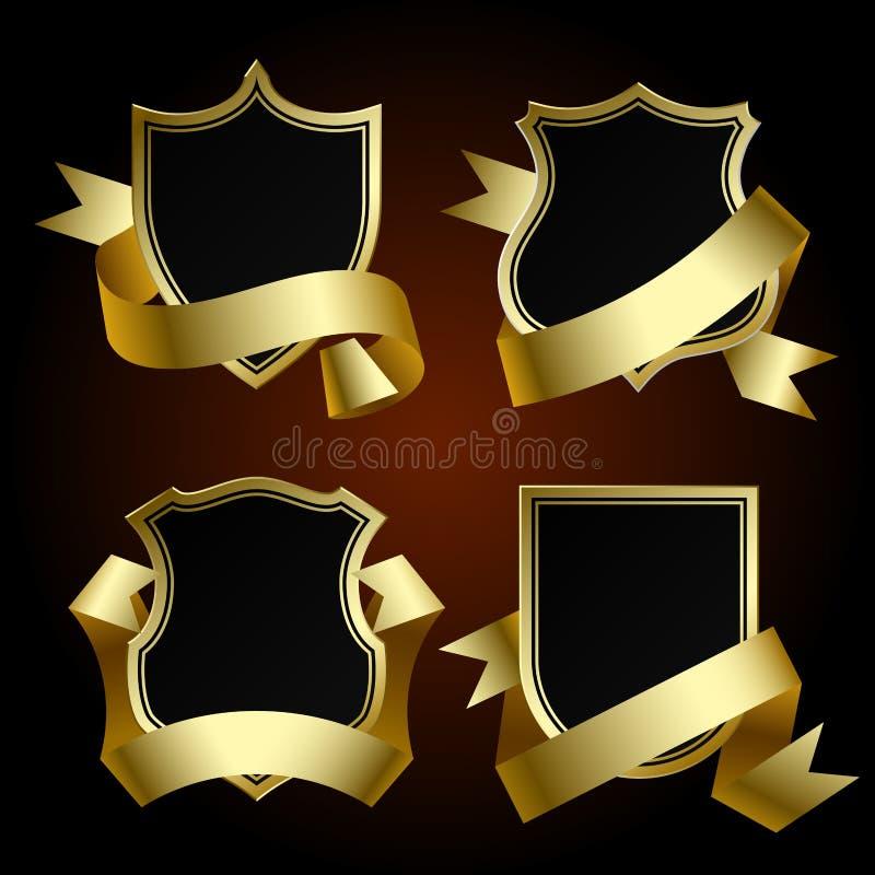 黑徽章设置了与金边界和丝带 皇族释放例证