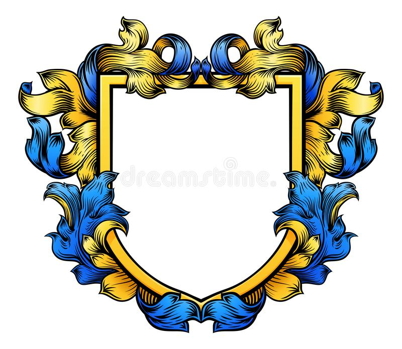 徽章顶饰骑士纹章学家庭盾 向量例证