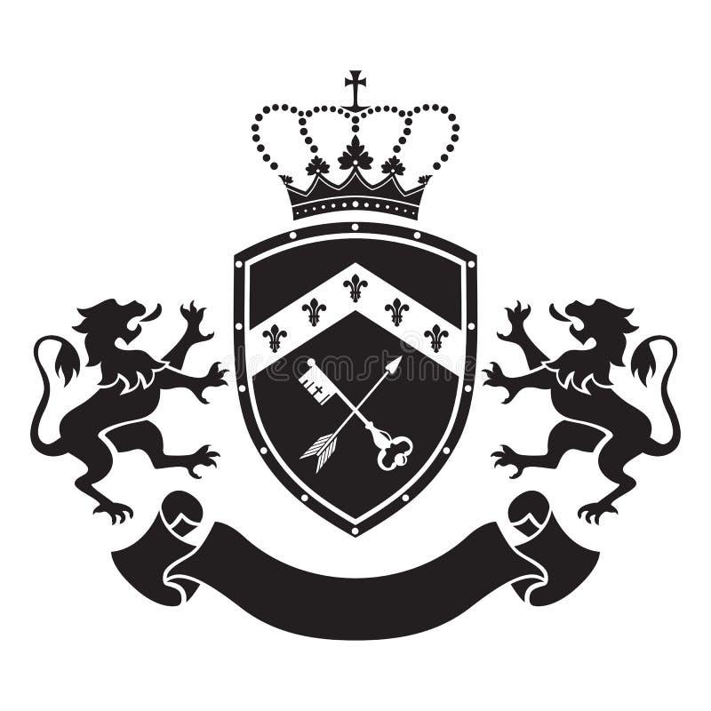 徽章-有冠、钥匙和箭头的,两盾常设锂 向量例证