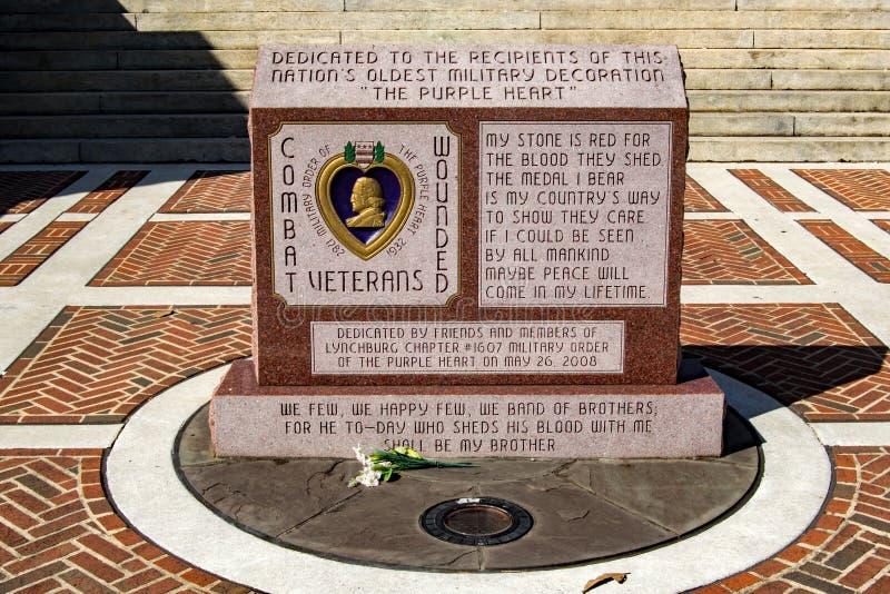 """紫心勋章纪念碑†""""林奇堡,弗吉尼亚,美国 免版税库存照片"""