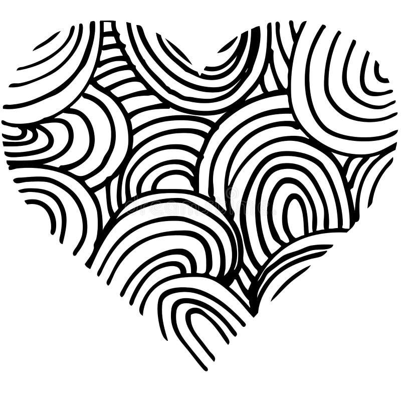 心形乱画抽象手拉的样式 皇族释放例证