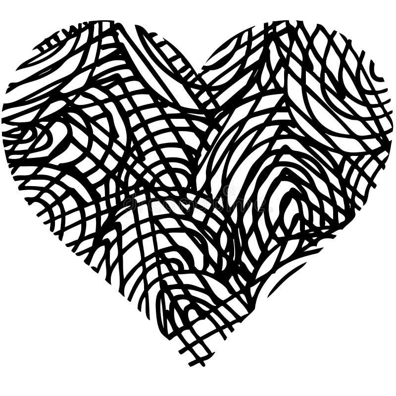 心形乱画抽象手拉的样式 库存例证