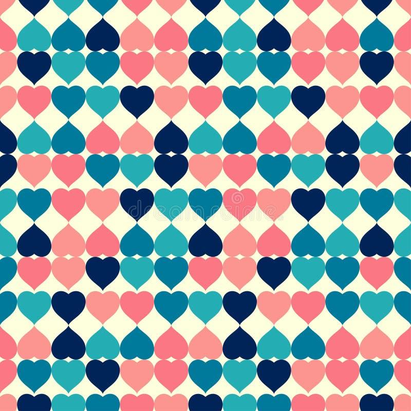 心形五颜六色的减速火箭的瓦片无缝的样式传染媒介背景 向量例证