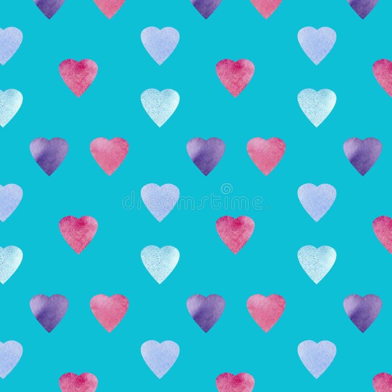 心形标志设计 Colorfui心脏样式 情人节无缝的背景 皇族释放例证