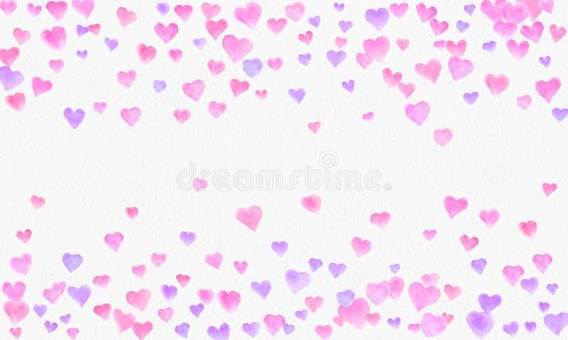 心形水彩背景 浪漫五彩纸屑飞溅 与心脏五彩纸屑的背景 落红色和桃红色纸心脏 向量例证
