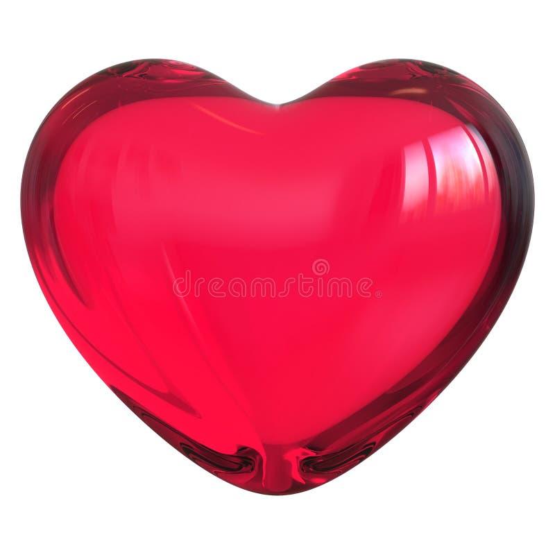 心形爱标志红色玻璃透亮光滑 皇族释放例证