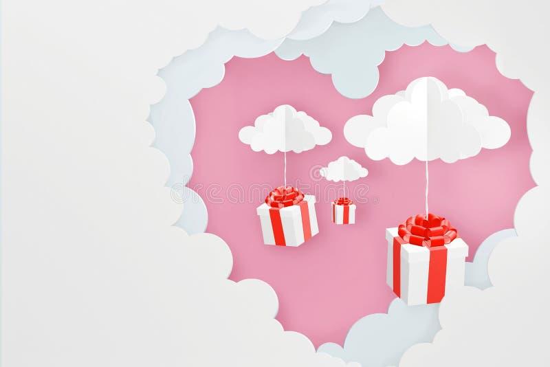 心形的云彩和落下从桃红色天空背景,3D翻译设计的礼物盒纸艺术样式  库存例证