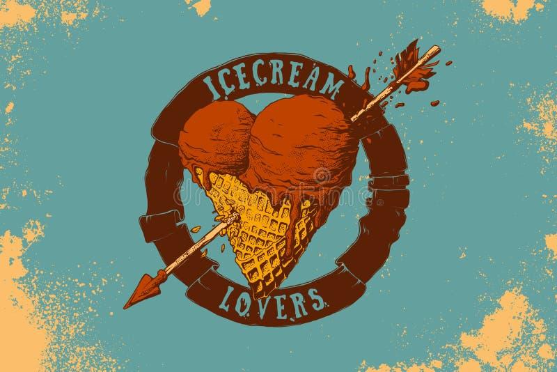 心形的冰淇凌和箭头例证 库存例证