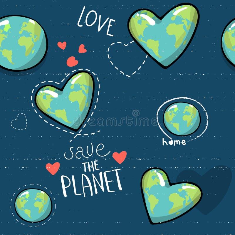 心形的地球 动画片地球 网象绿化愉快的自然字符 爱生态地球行星无缝的世界地图 向量例证