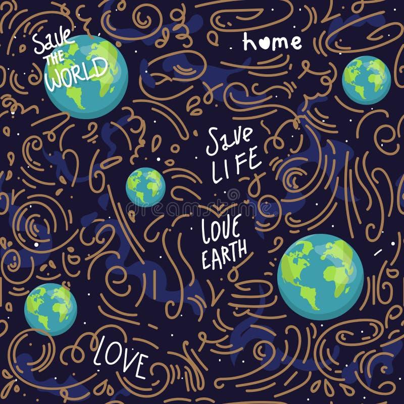 心形的地球 动画片地球 网象绿化愉快的自然字符 爱生态地球行星无缝的世界地图 皇族释放例证