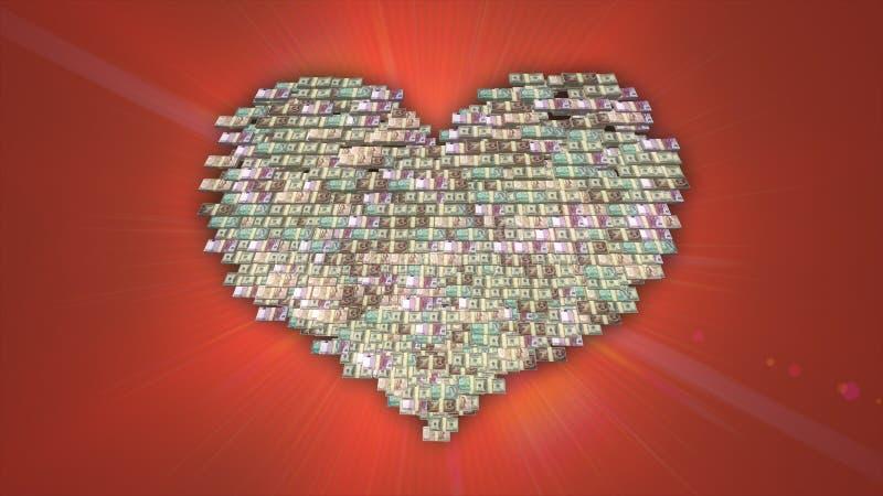 心形的堆欧元、美元和日元现金,对金钱,慈善资金的爱 库存例证