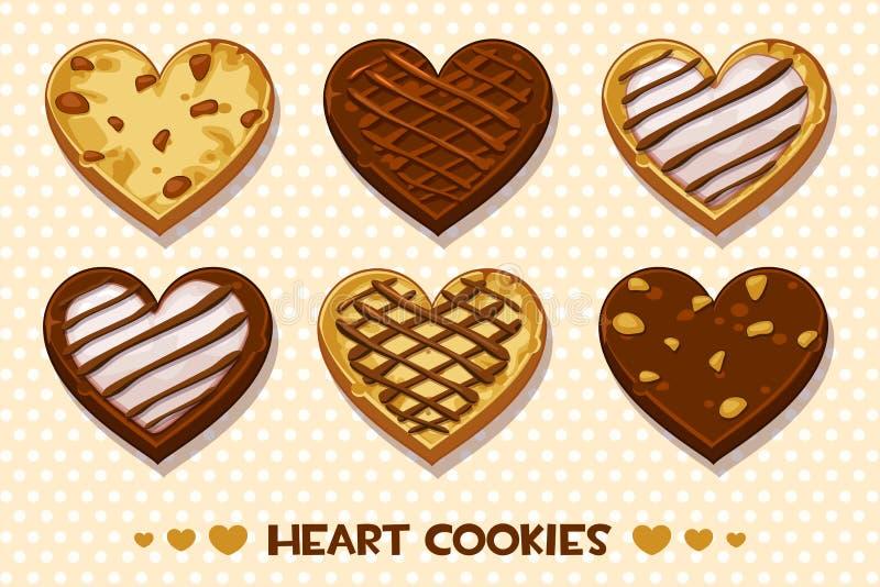 心形的姜饼和巧克力曲奇饼,设置了愉快的情人节 皇族释放例证