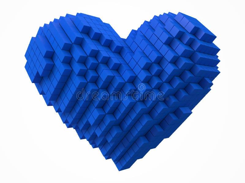 心形的数据块 用蓝色立方体做 3d映象点样式传染媒介例证 向量例证