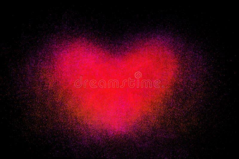 心形的红色粉末的结冰行动 库存例证