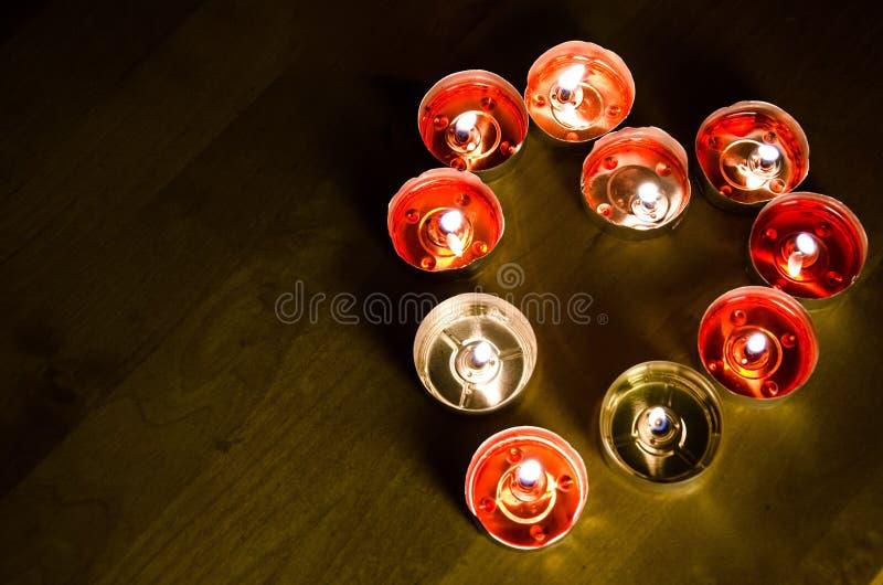 心形的蜡烛在情人节 库存照片