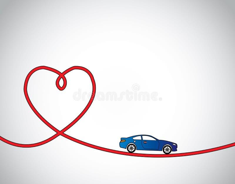 心形的路&蓝色汽车爱驾驶 向量例证