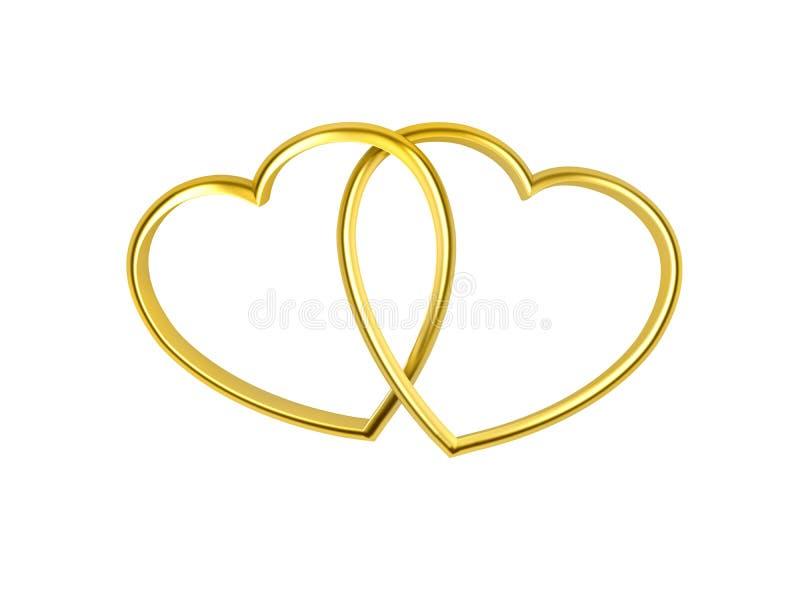 心形的金黄环形 向量例证